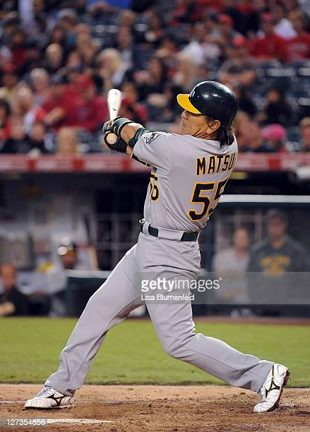 Hideki Matsui of the Oakland Athletics at bat against the Los Angeles Angels of Anaheim at Angel Stadium of Anaheim on September 24 2011 in Anaheim...