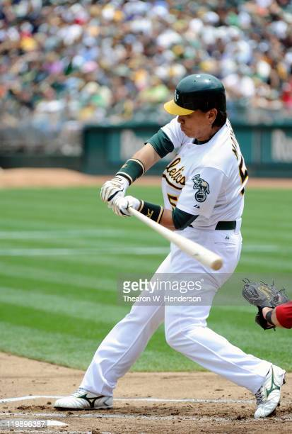 Hideki Matsui of the Oakland Athletics bats against the Los Angeles Angels of Anaheim in game one of a doubleheader at the Oco Coliseum July 16 2011...