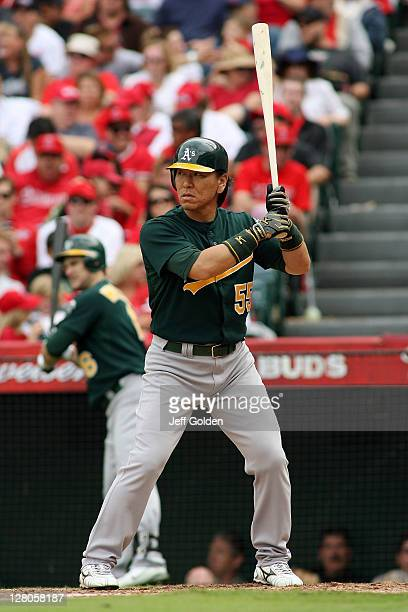 Hideki Matsui of the Oakland Athletics bats against the Los Angeles Angels of Anaheim in the seventh inning at Angel Stadium of Anaheim on September...
