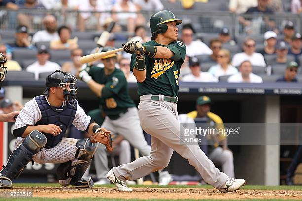 Hideki Matsui of the Oakland Athletics hits Oakland Athletics double against the New York Yankees during their game on July 24, 2011 at Yankee...