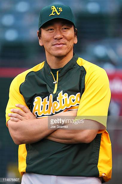 Hideki Matsui of the Oakland Athletics warms up for the game against the Los Angeles Angels of Anaheim at Angel Stadium of on May 23 2011 in Anaheim...