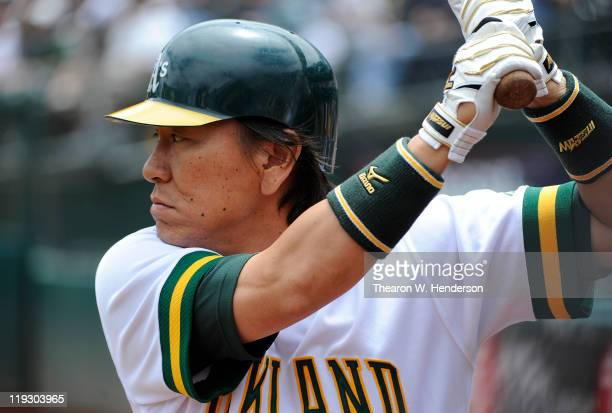 Hideki Matsui of the Oakland Athletics warms up in the ondeck cicle against the Los Angeles Angels of Anaheim in the first inning during an MLB...