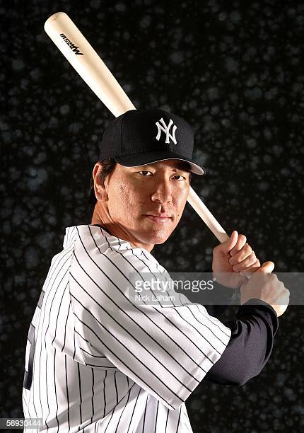 Hideki Matsui of the Yankees poses for a portrait during the New York Yankees Photo Day at Legends Field on February 24 2006 in Tampa Florida