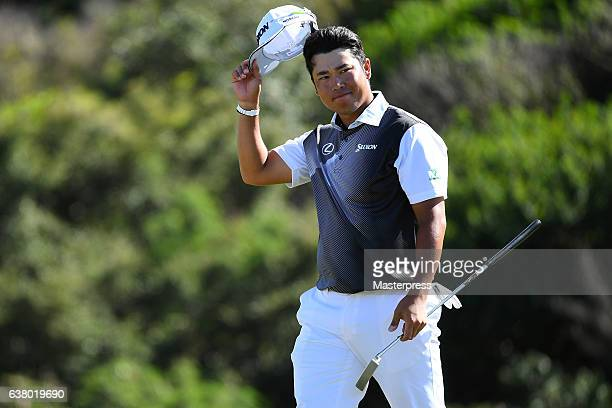 Hideki Matsuyama of Japan acknowledges after 18th hole during the final round of the SBS Tournament of Champions at the Plantation Course at Kapalua...