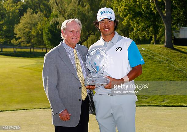 Hideki Matsuyama of Japan and Jack Nicklaus pose with the trophy after the Memorial Tournament presented by Nationwide Insurance at Muirfield Village...