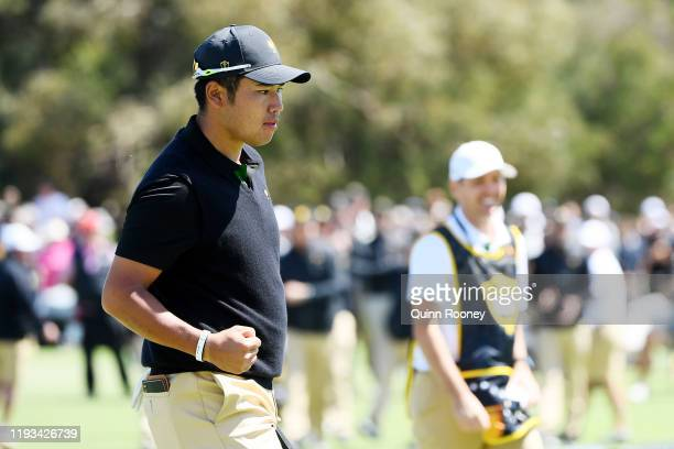 Hideki Matsuyama of Japan and the International team reacts on the 17th green during Thursday fourball matches on day one of the 2019 Presidents Cup...