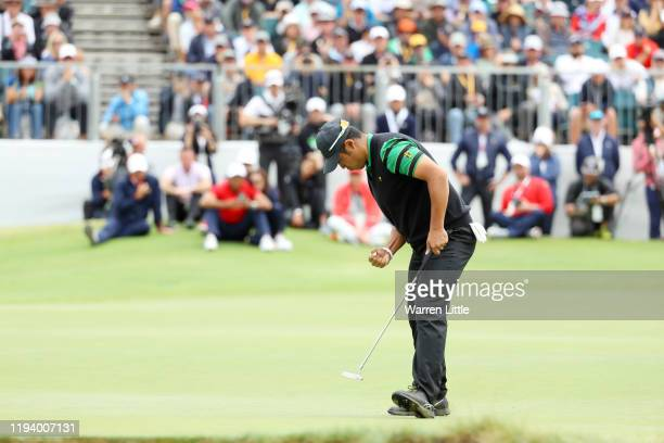 Hideki Matsuyama of Japan and the International team reacts on the 16th green during Sunday Singles matches on day four of the 2019 Presidents Cup at...