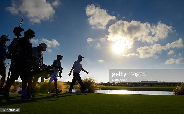 Hideki Matsuyama of Japan approaches the 18th green during the final round of the Hero World Challenge at Albany course on December 4 2016 in Nassau...