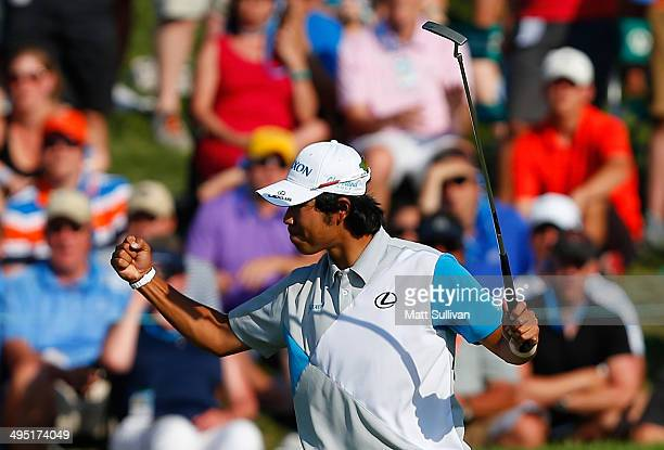 Hideki Matsuyama of Japan celebrates after winning the Memorial Tournament presented by Nationwide Insurance in a playoff with Kevin Na at Muirfield...