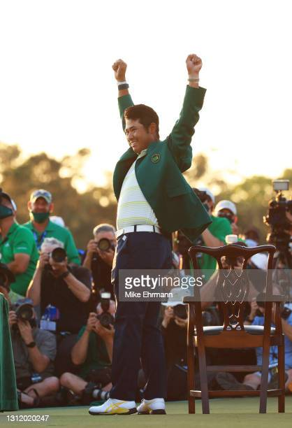 Hideki Matsuyama of Japan celebrates during the Green Jacket Ceremony after winning the Masters at Augusta National Golf Club on April 11, 2021 in...