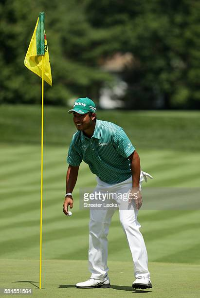 Hideki Matsuyama of Japan celebrates holing out for eagle on the second hole during the second round of the 2016 PGA Championship at Baltusrol Golf...