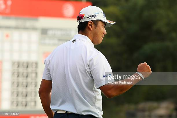 Hideki Matsuyama of Japan celebrates victory on the 18th green during day four of the WGC HSBC Champions at Sheshan International Golf Club on...