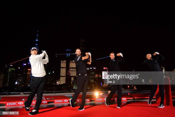 Hideki Matsuyama of Japan Dustin Johnson of the United States Henrik Stenson of Sweden and Haotong Li of China pose during a tournament launch event...