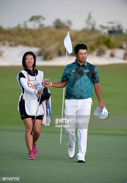 Hideki Matsuyama of Japan exits from the 18th hole during the third round of the Hero World Challenge at Albany course on December 3 2016 in Nassau...