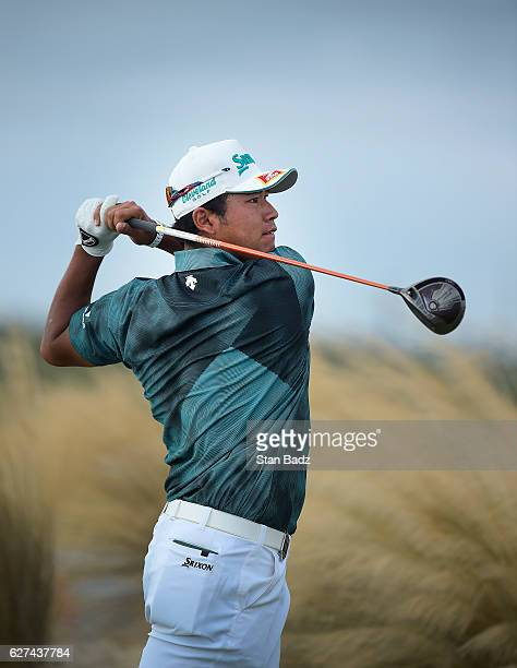 Hideki Matsuyama of Japan hits a drive on the 14th hole during the third round of the Hero World Challenge at Albany course on December 3 2016 in...