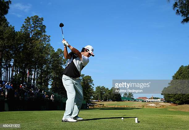 Hideki Matsuyama of Japan hits a shot during a practice round prior to the start of the 114th US Open at Pinehurst Resort Country Club Course No 2 on...