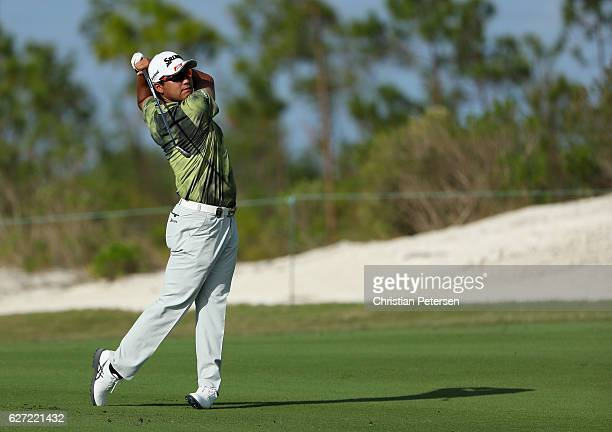 Hideki Matsuyama of Japan hits a shot on the 11th hole during round two of the Hero World Challenge at Albany The Bahamas on December 2 2016 in...