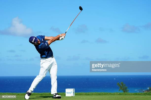 Hideki Matsuyama of Japan hits a tee shot on the 13th hole during the third round of the Sentry Tournament of Champions at Plantation Course at...