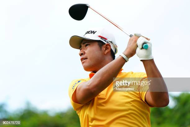 Hideki Matsuyama of Japan hits a tee shot on the 15th hole during the final round of the Sentry Tournament of Champions at Plantation Course at...