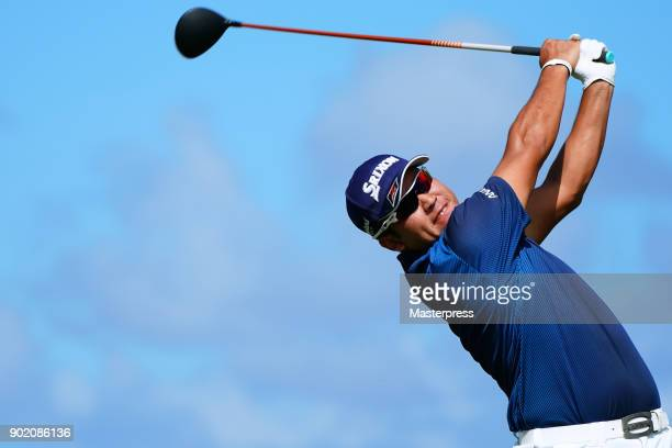 Hideki Matsuyama of Japan hits a tee shot on the 16th hole during the third round of the Sentry Tournament of Champions at Plantation Course at...