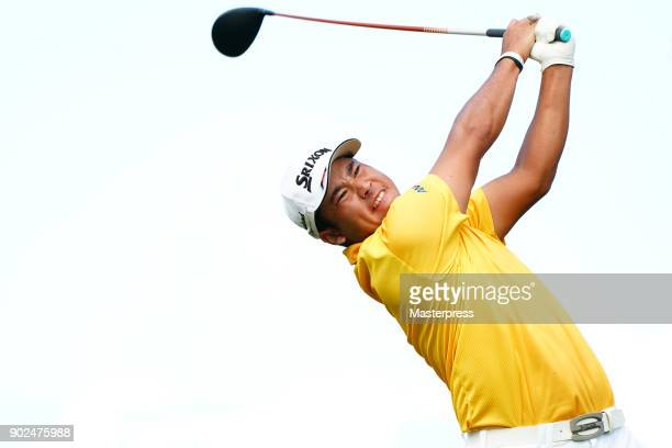 Hideki Matsuyama of Japan hits a tee shot on the 16th hole during the final round of the Sentry Tournament of Champions at Plantation Course at...