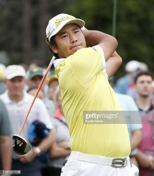 Hideki Matsuyama of Japan hits a tee shot on the first hole during the final round of the Masters Tournament in Augusta Georgia on April 14 2019 He...