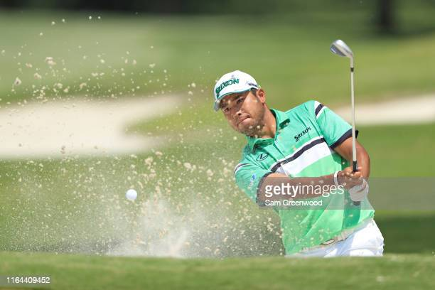 Hideki Matsuyama of Japan hits from a bunker on the 16th hole during the second round of the World Golf Championship-FedEx St Jude Invitational on...