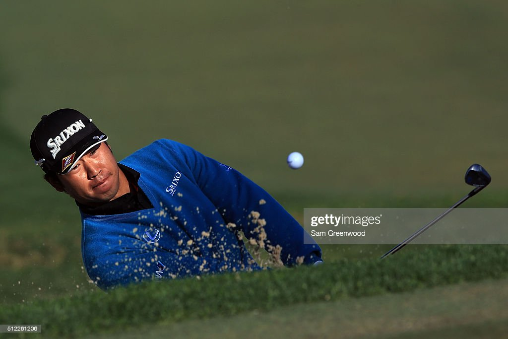 Hideki Matsuyama of Japan hits from a green side bunker on the third hole during the first round of the Honda Classic at PGA National Resort & Spa - Champions Course on February 25, 2016 in Palm Beach Gardens, Florida.