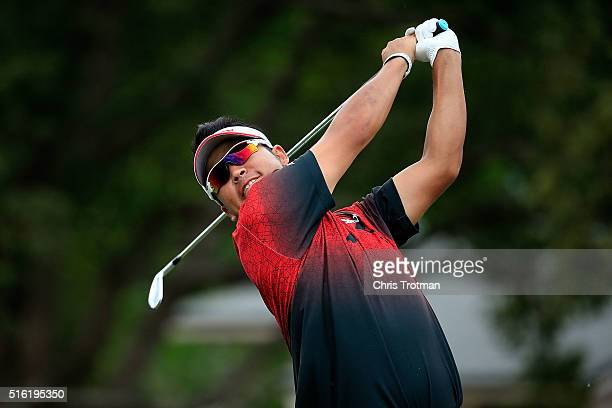 Hideki Matsuyama of Japan hits his tee shot on the 13th hole during the first round of the Arnold Palmer Invitational Presented by MasterCard at Bay...