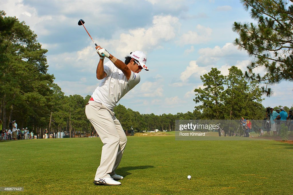 Hideki Matsuyama of Japan hits his tee shot on the 14th hole during the second round of the 114th U.S. Open at Pinehurst Resort & Country Club, Course No. 2 on June 13, 2014 in Pinehurst, North Carolina.