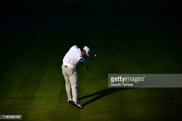 Hideki Matsuyama of Japan hits his tee shot on the 18th hole during The Challenge Japan Skins at Accordia Golf Narashino Country Club on October 21...