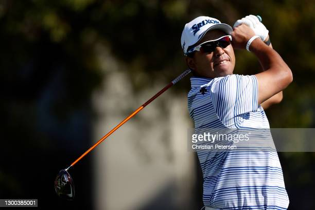 Hideki Matsuyama of Japan hits his tee shot on the fifth hole during the first round of the Waste Management Phoenix Open at TPC Scottsdale on...