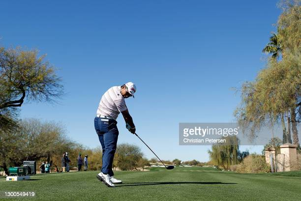 Hideki Matsuyama of Japan hits his tee shot on the third hole during the second round of the Waste Management Phoenix Open at TPC Scottsdale on...