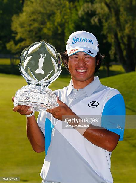 Hideki Matsuyama of Japan holds the trophy after winning the Memorial Tournament presented by Nationwide Insurance at Muirfield Village Golf Club on...