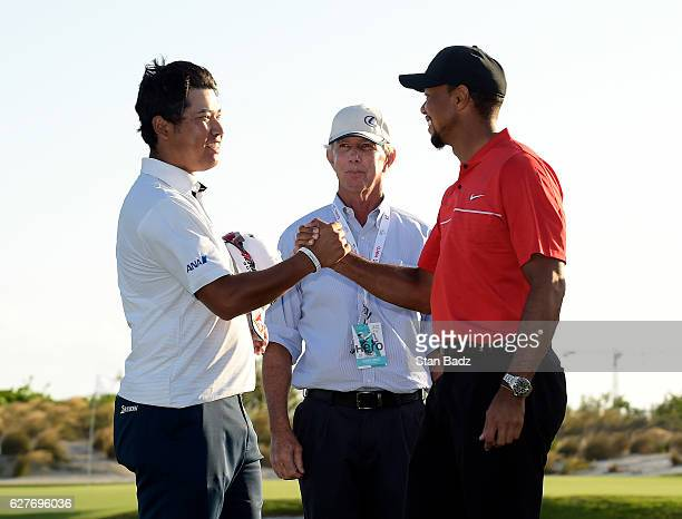 Hideki Matsuyama of Japan is congratulated by tournament host Tiger Woods on winning the Hero World Challenge at Albany course on December 4 2016 in...
