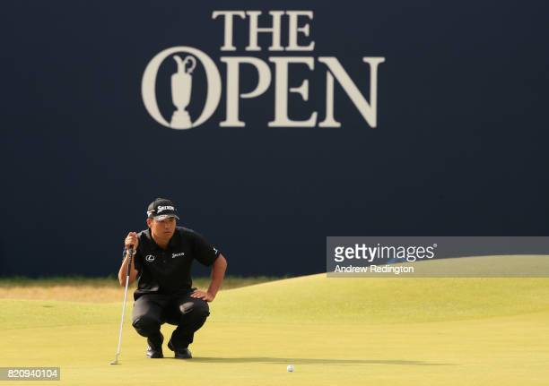 Hideki Matsuyama of Japan lines up a putt on the 18th green during the third round of the 146th Open Championship at Royal Birkdale on July 22, 2017...