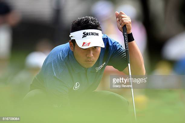 Hideki Matsuyama of Japan lines up a putt on the second green during the final round of the Arnold Palmer Invitational Presented by MasterCard at Bay...