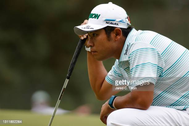 Hideki Matsuyama of Japan lines up a putt on the sixth green during the third round of the Masters at Augusta National Golf Club on April 10, 2021 in...
