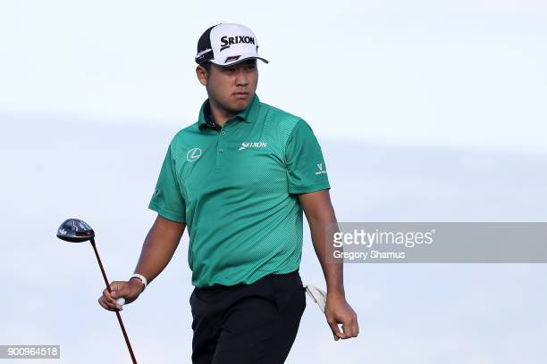 Hideki Matsuyama of Japan looks on during the proam tournament prior to the Sentry Tournament of Champions at Plantation Course at Kapalua Golf Club...