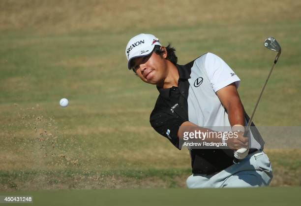 Hideki Matsuyama of Japan plays a bunker shot during a practice round prior to the start of the 114th US Open at Pinehurst Resort Country Club Course...