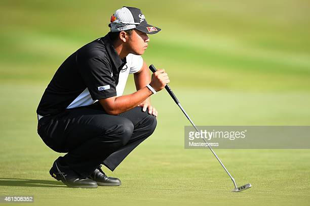 Hideki Matsuyama of Japan plays a putt on the 17th hole during the round one of the Hyundai Tournament of Champions at Plantation Course at Kapalua...