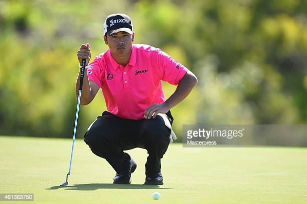 Hideki Matsuyama of Japan plays a putt on the 17th hole during the round two of the Hyundai Tournament of Champions at Plantation Course at Kapalua...