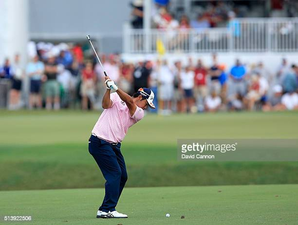Hideki Matsuyama of Japan plays a short iron during the second round of the 2016 World Golf Championship Cadillac Championship on the Blue Monster...