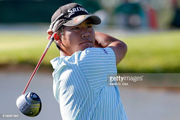 Hideki Matsuyama of Japan plays a shot during a practice round prior to the start of the 2016 Masters Tournament at Augusta National Golf Club on...