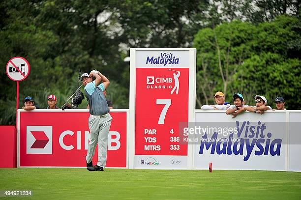 Hideki Matsuyama of Japan plays a shot during round two of the CIMB Classic at Kuala Lumpur Golf & Country Club on October 30, 2015 in Kuala Lumpur,...