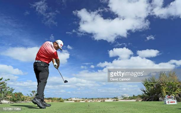 Hideki Matsuyama of Japan plays a shot during the proam as a preview for the 2018 Hero World Challenge at the Albany Club on November 28 2018 in...