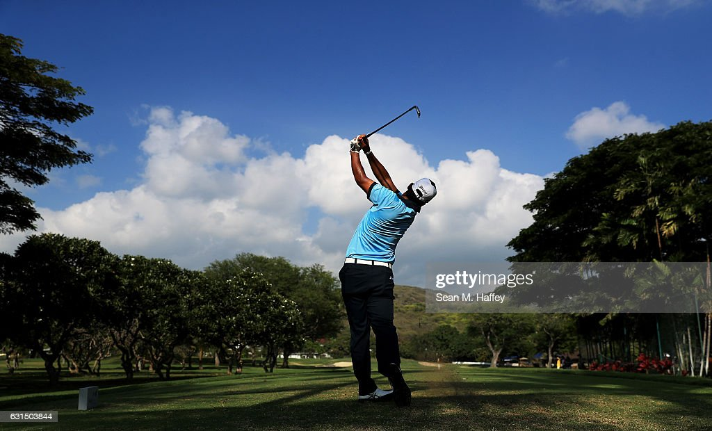 Hideki Matsuyama of Japan plays a shot during the Pro-Am Tounament prior to the Sony Open In Hawaii at Waialae Country Club on January 11, 2017 in Honolulu, Hawaii.