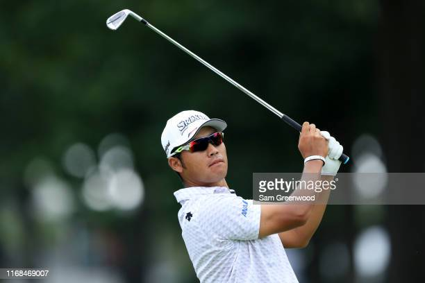 Hideki Matsuyama of Japan plays a shot during the second round of the BMW Championship at Medinah Country Club No 3 on August 16 2019 in Medinah...