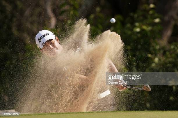 Hideki Matsuyama of Japan plays a shot from a bunker on the second hole during the first round of the World Golf ChampionshipsDell Match Play at...
