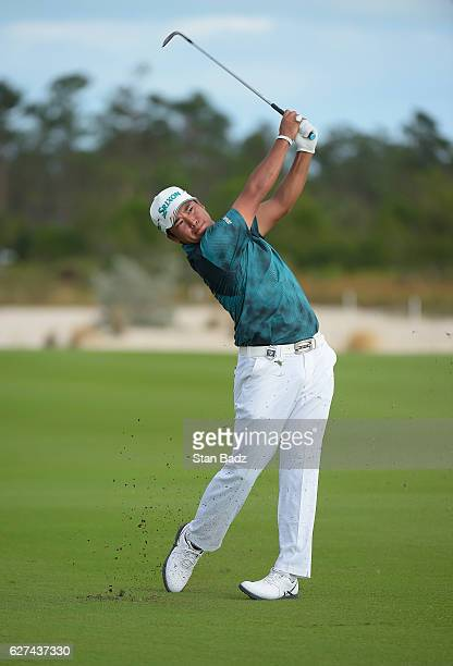 Hideki Matsuyama of Japan plays a shot on the 13th fairway during the third round of the Hero World Challenge at Albany course on December 3 2016 in...